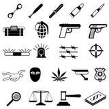 Εικονίδια εγκλήματος καθορισμένα ελεύθερη απεικόνιση δικαιώματος