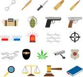 Εικονίδια εγκλήματος στο επίπεδο ύφος χρωμάτων διανυσματική απεικόνιση