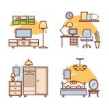 Εικονίδια εγχώριων δωματίων Καθιστικό, κρεβατοκάμαρα, διάστημα εργασίας Στοκ Φωτογραφία