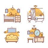 Εικονίδια εγχώριων δωματίων Καθιστικό, κρεβατοκάμαρα, λουτρό Στοκ φωτογραφία με δικαίωμα ελεύθερης χρήσης