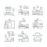 Εικονίδια εγχώριων δωματίων καθορισμένα Εσωτερικοί τύποι δωματίων σχεδίου Καθιστικό, κρεβατοκάμαρα, λουτρό, διάστημα εργασίας Στοκ εικόνες με δικαίωμα ελεύθερης χρήσης