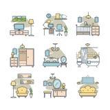 Εικονίδια εγχώριων δωματίων καθορισμένα Στοκ Φωτογραφίες