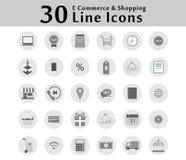 30 εικονίδια εικονιδίων για τις σε απευθείας σύνδεση λειτουργίες επιχείρησης θεάματος αγορών Υπάρχουν πολλές επιλογές Στοκ φωτογραφίες με δικαίωμα ελεύθερης χρήσης