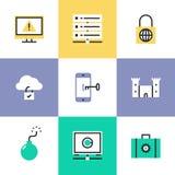 Εικονίδια εικονογραμμάτων ασφάλειας σύννεφων καθορισμένα διανυσματική απεικόνιση