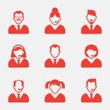 Εικονίδια ειδώλων επιχειρηματιών επίσης corel σύρετε το διάνυσμα απεικόνισης Εικονίδιο σημαδιών χρηστών Σύμβολο προσώπων Στοκ Εικόνες