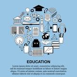 Εικονίδια εκπαίδευσης και επιστήμης καθορισμένα μορφή κύκλων Στοκ Εικόνα