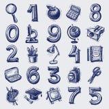 25 εικονίδια εκπαίδευσης σκίτσων Στοκ εικόνα με δικαίωμα ελεύθερης χρήσης