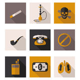 Εικονίδια ενάντια στο κάπνισμα Στοκ Φωτογραφίες
