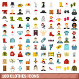 100 εικονίδια ενδυμάτων καθορισμένα, επίπεδο ύφος Στοκ Εικόνα
