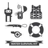 Εικονίδια εξαρτήσεων Surival έκτακτης ανάγκης νερού ελεύθερη απεικόνιση δικαιώματος