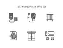 Εικονίδια εξοπλισμού θέρμανσης καθορισμένα ελεύθερη απεικόνιση δικαιώματος