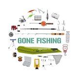 Εικονίδια εξοπλισμών αλιείας γύρω από την έννοια σχεδίου Στοκ φωτογραφία με δικαίωμα ελεύθερης χρήσης