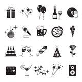 Εικονίδια εορτασμού και εικονίδια κόμματος με το άσπρο υπόβαθρο Στοκ εικόνες με δικαίωμα ελεύθερης χρήσης