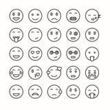 Εικονίδια επίπεδου και προσώπου γραμμών emoticon καθορισμένα Στοκ φωτογραφίες με δικαίωμα ελεύθερης χρήσης