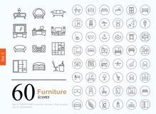 60 εικονίδια επίπλων διανυσματική απεικόνιση