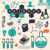 Εικονίδια επιστήμης καθορισμένα διάνυσμα Στοκ Εικόνες