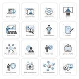 Εικονίδια επιχειρήσεων και πόρων χρηματοδότησης καθορισμένα Επίπεδο σχέδιο Στοκ Εικόνα