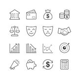 Εικονίδια επιχειρήσεων & χρηματοδότησης - διανυσματική απεικόνιση, εικονίδια γραμμών καθορισμένα Στοκ Φωτογραφίες