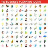 100 εικονίδια επιχειρησιακού προγραμματισμού καθορισμένα, isometric ύφος Στοκ φωτογραφίες με δικαίωμα ελεύθερης χρήσης