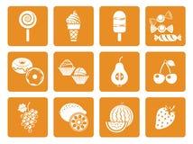 Εικονίδια επιδορπίων τροφίμων Στοκ Φωτογραφίες