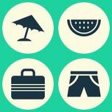 Εικονίδια εποχής καθορισμένα Συλλογή του οσμηρού, των αποσκευών, του πεπονιού και άλλων στοιχείων Επίσης περιλαμβάνει τα σύμβολα  Στοκ εικόνες με δικαίωμα ελεύθερης χρήσης