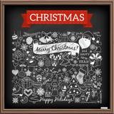 Εικονίδια εποχής Χριστουγέννων Doodle απεικόνιση αποθεμάτων