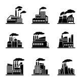 Εικονίδια εργοστασίων και βιομηχανικού κτηρίου Στοκ εικόνα με δικαίωμα ελεύθερης χρήσης