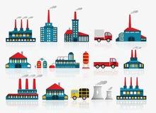 Εικονίδια εργοστασίων Στοκ φωτογραφία με δικαίωμα ελεύθερης χρήσης