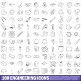 100 εικονίδια εφαρμοσμένης μηχανικής καθορισμένα, περιγράφουν το ύφος διανυσματική απεικόνιση