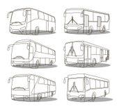 Εικονίδια λεωφορείων καθορισμένα Στοκ Φωτογραφία