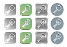 Εικονίδια ζουμ/αναζήτησης διανυσματική απεικόνιση