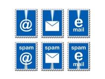 Εικονίδια ηλεκτρονικού ταχυδρομείου στα πλαίσια γραμματοσήμων Στοκ εικόνες με δικαίωμα ελεύθερης χρήσης