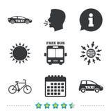 Εικονίδια δημόσιων συγκοινωνιών Ελεύθερο λεωφορείο, σημάδια ποδηλάτων Στοκ Εικόνες