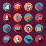 Εικονίδια ηλεκτρονικού εμπορίου αγορών καθορισμένα επίπεδα Στοκ εικόνα με δικαίωμα ελεύθερης χρήσης