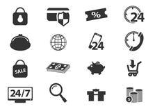 Εικονίδια ηλεκτρονικού εμπορίου καθορισμένα Στοκ Εικόνες