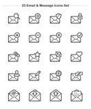 Εικονίδια ηλεκτρονικού ταχυδρομείου & μηνυμάτων καθορισμένα, εικονίδια πάχους γραμμών Στοκ Εικόνες