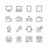 Εικονίδια ηλεκτρονικών συσκευών - διανυσματική απεικόνιση, εικονίδια γραμμών καθορισμένα Στοκ Εικόνες