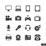 Εικονίδια ηλεκτρονικών συσκευών καθορισμένα - διανυσματική απεικόνιση Στοκ Φωτογραφία