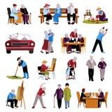 Εικονίδια ηλικιωμένων ανθρώπων καθορισμένα απεικόνιση αποθεμάτων