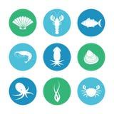 Εικονίδια θαλασσινών καθορισμένα Στοκ Εικόνα