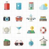Εικονίδια διακοπών ταξιδιού και ξενοδοχείων Στοκ εικόνα με δικαίωμα ελεύθερης χρήσης