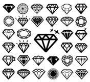 Εικονίδια διαμαντιών καθορισμένα Στοκ Εικόνα