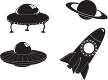Εικονίδια διαστημικού ταξιδιού Στοκ Εικόνες