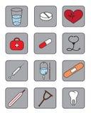 εικονίδια ιατρικά Στοκ εικόνα με δικαίωμα ελεύθερης χρήσης