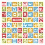 Εικονίδια διαφήμισης χρώματος καθορισμένα ελεύθερη απεικόνιση δικαιώματος