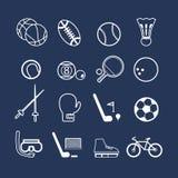 εικονίδια ικανότητας επτά αθλητισμός σκιαγραφιών Στοκ Φωτογραφία