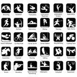 εικονίδια ικανότητας επτά αθλητισμός σκιαγραφιών Στοκ εικόνες με δικαίωμα ελεύθερης χρήσης