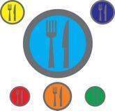 Εικονίδια δικράνων, μαχαιριών και κουταλιών Σύμβολο μαχαιροπήρουνων Στοκ φωτογραφία με δικαίωμα ελεύθερης χρήσης