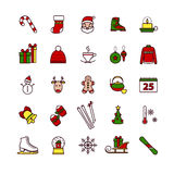 Εικονίδια Ιστού περιλήψεων - χειμώνας, Χαρούμενα Χριστούγεννα, νέο έτος Στοκ Εικόνα