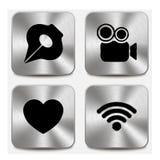 Εικονίδια Ιστού στα μεταλλικά κουμπιά καθορισμένα την ένταση 5 Στοκ φωτογραφία με δικαίωμα ελεύθερης χρήσης